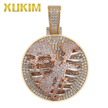 Xukim Jewelry Rose Gold Hollow Solid Skeleton Heart Medallion Pendant Necklace Iced Out Rapper Rock Hip Hop Jewelry Gift xukim jewelry silver gold color cubic zirconia iced out paw dog cat claw pendant necklace hip hop jewelry