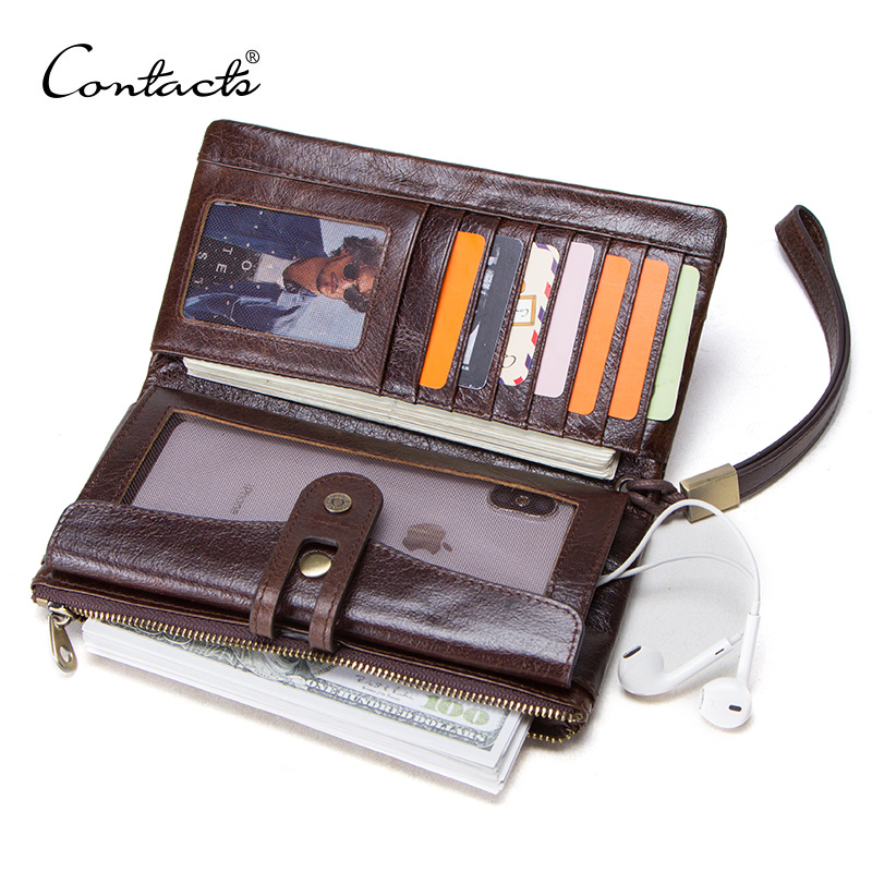 f8423acd10 CONTACT'S men's long wallets genuine leather card holder women purse for  cell phone man clutch high capacity wallet hasp design