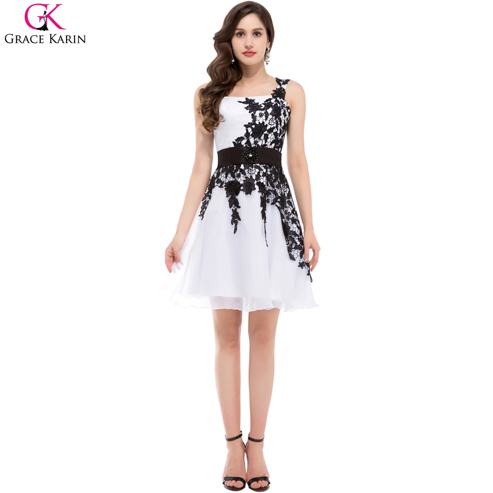 Vestidos de fiesta blancos con encaje negro