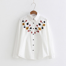 Dioufond Women Shirt White Casual Embroidery Blouses Long Sleeve Female Tops Turn-down Collar Women Fashion Floral Shirts 2018