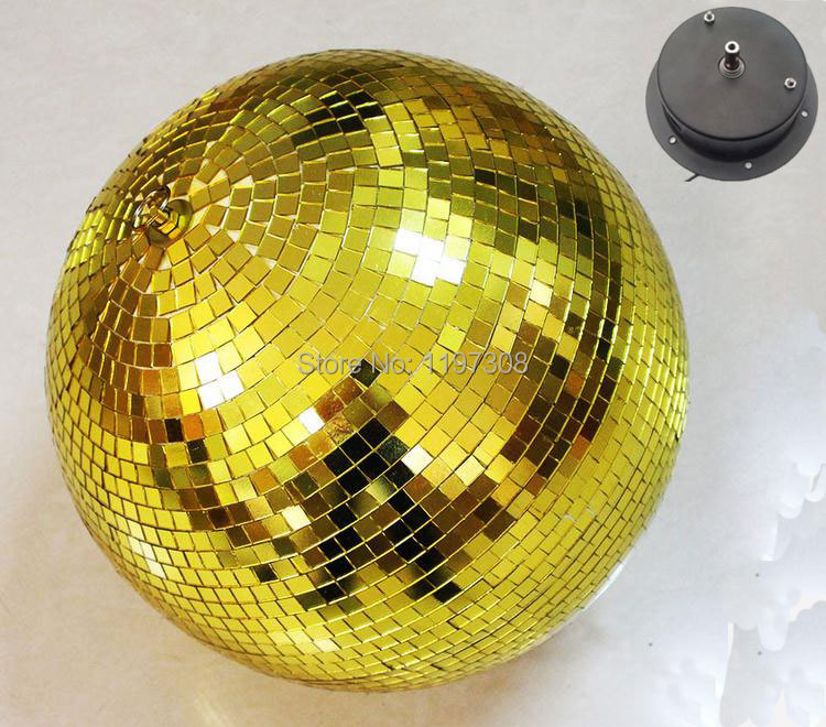 D25cm diameter Gold glass rotating mirror ball 10