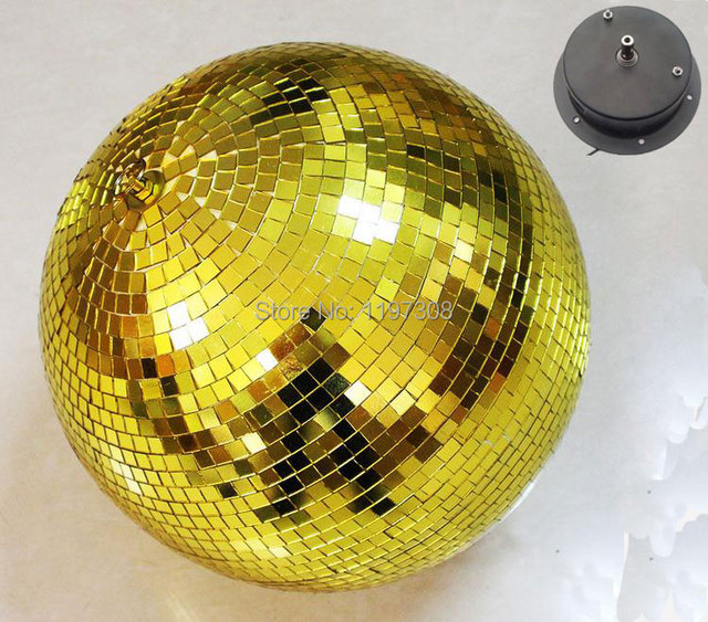 "D25cm diameter Gold glass rotating mirror ball 10"" disco DJ party lighting 100v or 230v Rotation Motor home holiday decor balls"