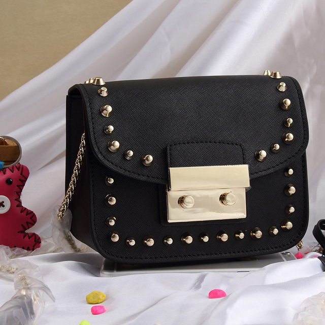 2017 Women Ladies Genuine Leather Cowhide Rivet Designer Flap Handbags  Triangle Handbag Shoulder Bag Messenger Crossbody 7760002512ea