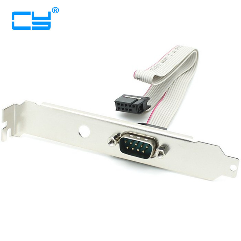 Single RS232 Serial COM Port Cable DB-9 Male to 10 pin IDC Socket Cable with PCI Bracket gilding socket usb to rs232 data converter virtual serial port virtual com port virtual 232 adapter for windows8