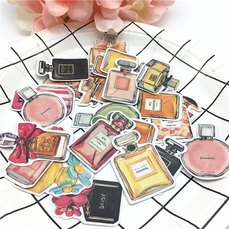 24pcs Korean Daisylands Stikers Perfume Bottle Decorative Stickers For Notebook Planner Scrapbooking, DIY Paper Sticker