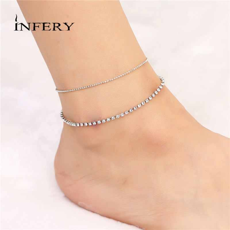 New Designs Silver Barefoot Sandals Jewelry Simple Cheap Shiny Crystal  Chain Anklets for Women's Fashion Jewelry 2B397