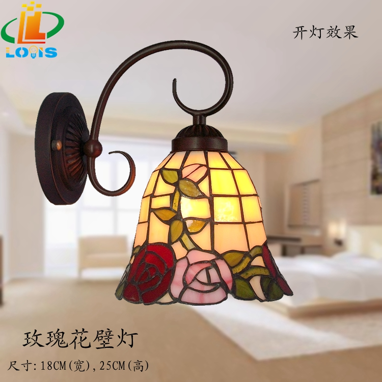 European and American antique roses small wall lamp Tiffany staircase features lamps restaurant LED mirror bedside lighting