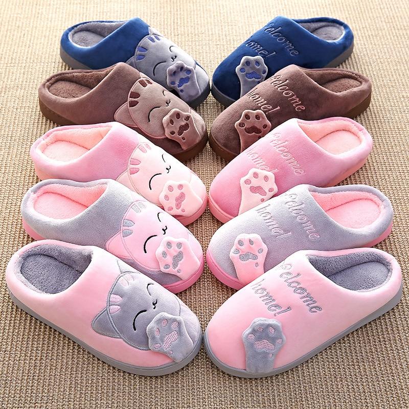 Winter Indoor Slippers Cute Non-slip Soft Cartoon Cat Slipper Women Cotton Home Slippers Ladies Warm Flat Floor Shoes QBT1099 цена 2017