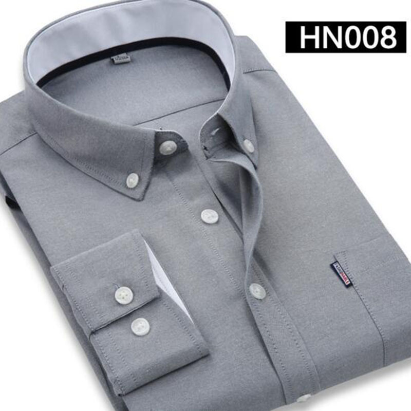 Spring Autumn Hot Sale Men Long Sleeve Solid Color Shirts Camisa,Solid Oxford Cotton Single Breasted Vestido