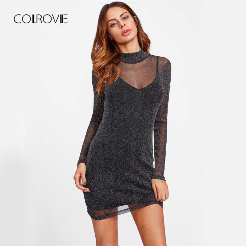 4eb45d8e506 COLROVIE блеск сетки платье 2 в 1 черный Наложение Для женщин пикантные  вечерние Клубные летние платья