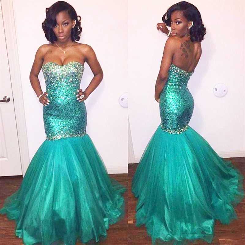 sparkly mermaid   prom     dress   long turquoise sequined girl graduation   prom     dresses   black girl   prom     dress   mermaid floor length gown