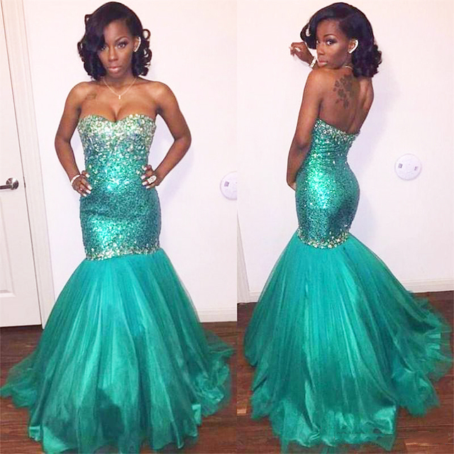 sparkly mermaid prom dress long turquoise sequined girl graduation ...