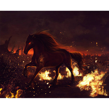 Horse in fire diamond Embroidery diy painting mosaic diamand 3d cross stitch pictures H851