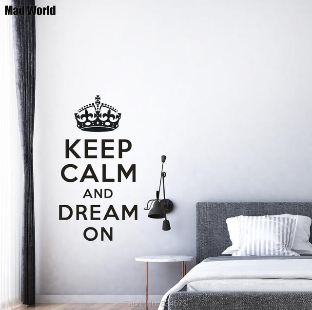 Mad world keep calm and dream on wall art stickers wall decal home diy decoration