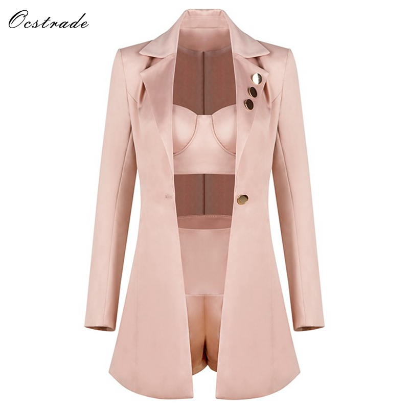 Ocstrade Fashion Runway Women Set 2019 Spring New Champagne 3 Pieces Outfits Crop Top&High Waist Shorts&Long Sleeve Jacket