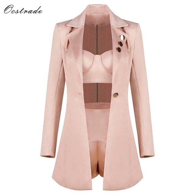 Ocstrade Fashion Runway Women Set 2019 Spring New Champagne 3 Pieces Outfits Crop Top&High Waist Shorts&Long Sleeve Jacket by Ocstrade