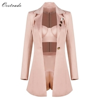 Ocstrade Fashion Runway Women Set 2018 Spring New Champagne 3 Pieces Outfits Crop top&High Waist Shorts&Long Sleeve Jacket