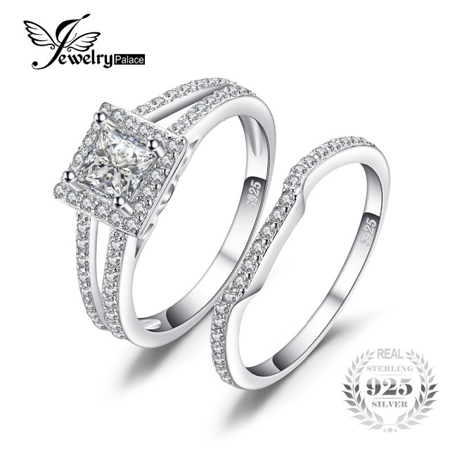 JewelryPalace Princess Cut 2ct Cubic Zirconia Anniversary Wedding Band Engagement Ring Bridal Sets 925 Sterling Silver Jewelry