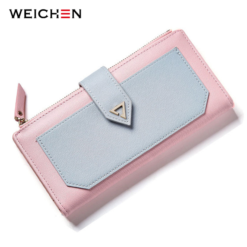 WEICHEN Brand Designer Geometric Long Clutch Wallets For Women Purse Cards Holder Phone Pocket Carteira Fashion Female Wallet new brand candy colors leather carteira couro cards holder for girls women wallet purse plaid embossing zipper wallet