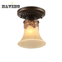 American Vintage Glass Ceiling Lights For Cabinet Bedroom Bathroom Kitchen Mini Small Ceiling Lamp
