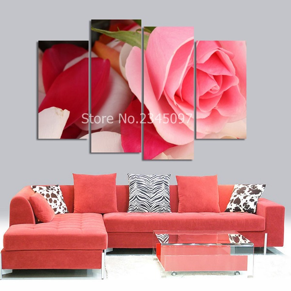 Canvas Picture Flower Painting Pink Roses Canvas print wall pictures ...