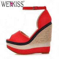 WETKISS Sexy Armadura Parche de Color del dedo del pie Abierto Cuñas Gladiador Sandalias Mujer Tacones Altos Zapatos de Mujer Sandalias de Plataforma de Las Mujeres del Verano