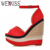 Sexy Open Toe Weave Patch Color Wedges Gladiator Sandals Women 2015 High Heels Platform Sandals Summer