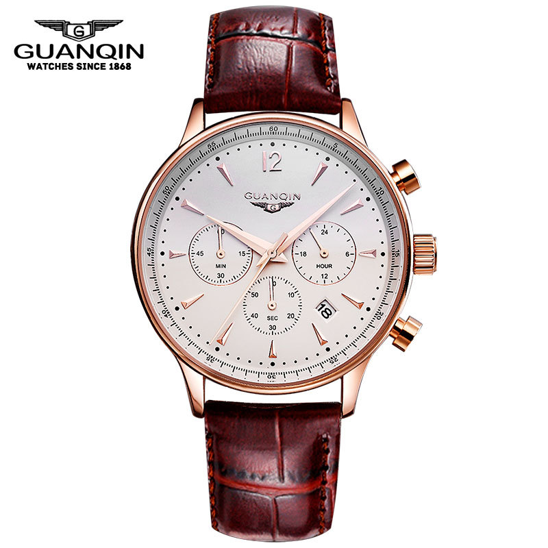 Mens Watch GUANQIN Men Quartz Watch Sport Military Waterproof Watches Chronograph Leather Wristwatches Relogio Masculino 2017 new top fashion time limited relogio masculino mans watches sale sport watch blacl waterproof case quartz man wristwatches