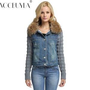 Shop Discount Oversized Denim Jacket With Fur