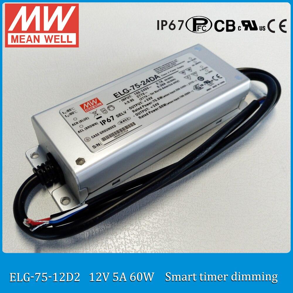 где купить Original MEAN WELL ELG-75-12D2 60W 5A 12V LED driver ELG-75 IP67 meanwell smart timmer dimming LED driver 12V по лучшей цене