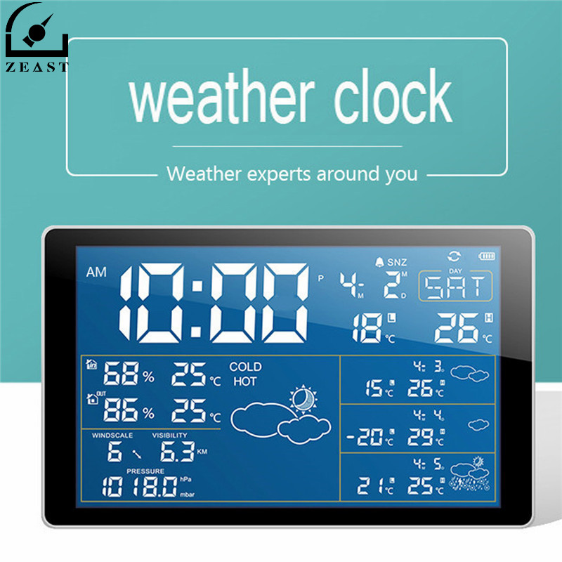 ZEAST Household Weather Station Wifi Weather Clock Radio Digital Temperature Humidity Meter Clock Thermometer Connecting Phone digital wireless weather station indoor outdoor thermometer temperature humidity w rcc radio controlled clock 2 remote sensor