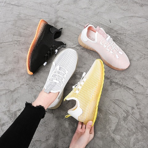 Sneakers Women Sports Shoes Lace-Up Running Shoes Fashion Summer Mesh Round Cross Street Sneakers Walking Shoes Casual Shoes Multan