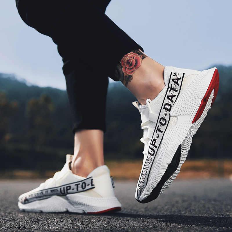 אופנה נעליים יומיומיות גברים לנשימה לבן מגופר נעלי קיץ גברים רשת נעלי סניקרס קל משקל הנעלה לזכר