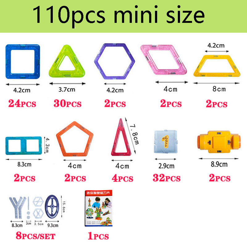 110pcs Mini Magnetic Designer Construction Set Model & Building Toy Plastic Magnetic Blocks Educational Toys For Kids Gift qwz new 110pcs mini magnetic designer construction set model