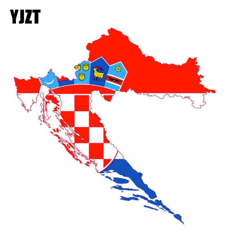 YJZT 14.2CM*13.8CM Creative Croatia Car Sticker Map Decal Flag Accessories 6-0838