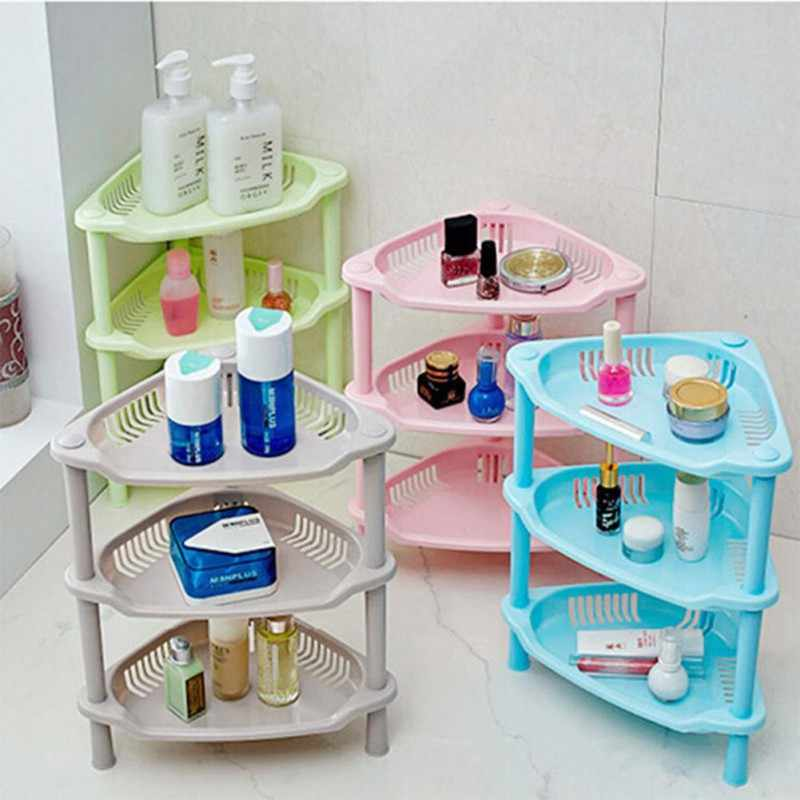 3 Tier Plastic Suction Cup Bathroom Kitchen Corner Storage Rack Organizer Shower Shelf Holder Stands Plastic Accessories