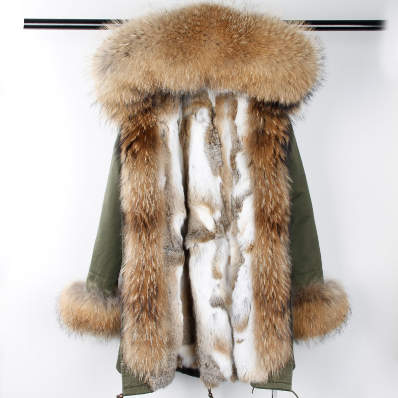 New Winter Rabbit Fur Coat Women Long Real Fur Parka Hooded Jacket Female Army Black Big Nature Raccoon Fur Collar Parka fur printed long raccoon fur collar coat women winter real rabbit fur liner hooded jacket women bomber parka female ladies fp896