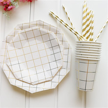 49pcs/lot Paper Dinnerware Set Disposable Plates and Cups Paper Straws for Wedding Birthday Party Decorative Tableware