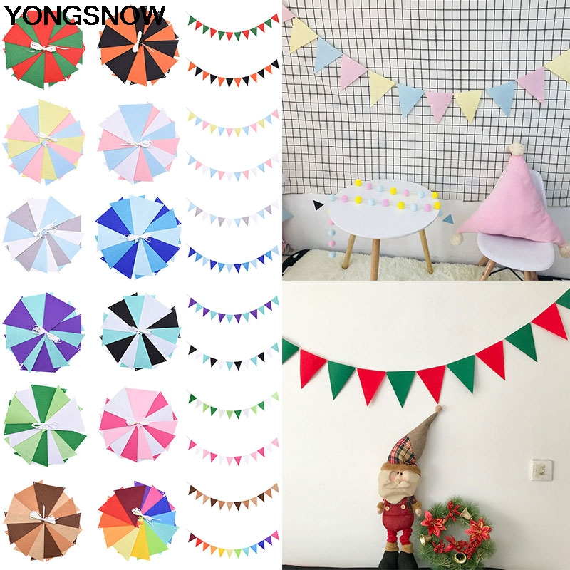 12Pcs Flags 2.5m Rope Multicolor Cloth Flag Garland Banner String Buntings Wedding Birthday Party Baby Shower Room Hanging Decor