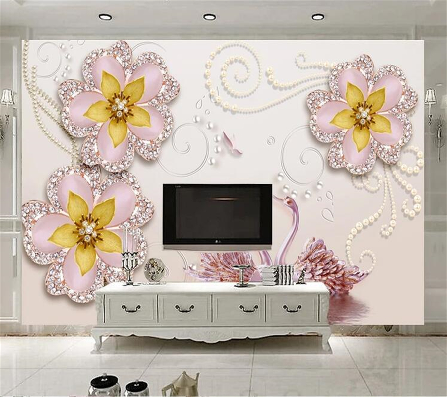 beibehang Custom wallpaper papel de parede Beautiful swan jewel flower wall papel pintado de pared papel parede tapety behang in Wallpapers from Home Improvement