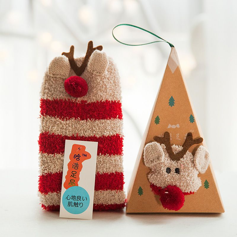 Hot Sale Winter Women Socks Thicken Coral Cashmere Christmas Gift Box Girl Cute 3D Cat Bear Fox Casual Warm Ladies Soft Socks