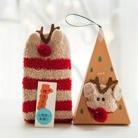 Hot Sale Winter Women Socks Thicken Coral Cashmere Christmas Gift Box Girl Cute 3D Cat Bear