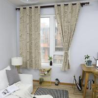 Рукопись узор шторы для гостиной шторы спальня эркер хлопок белье закончил ткань шторы Grommet Top 140x215 см