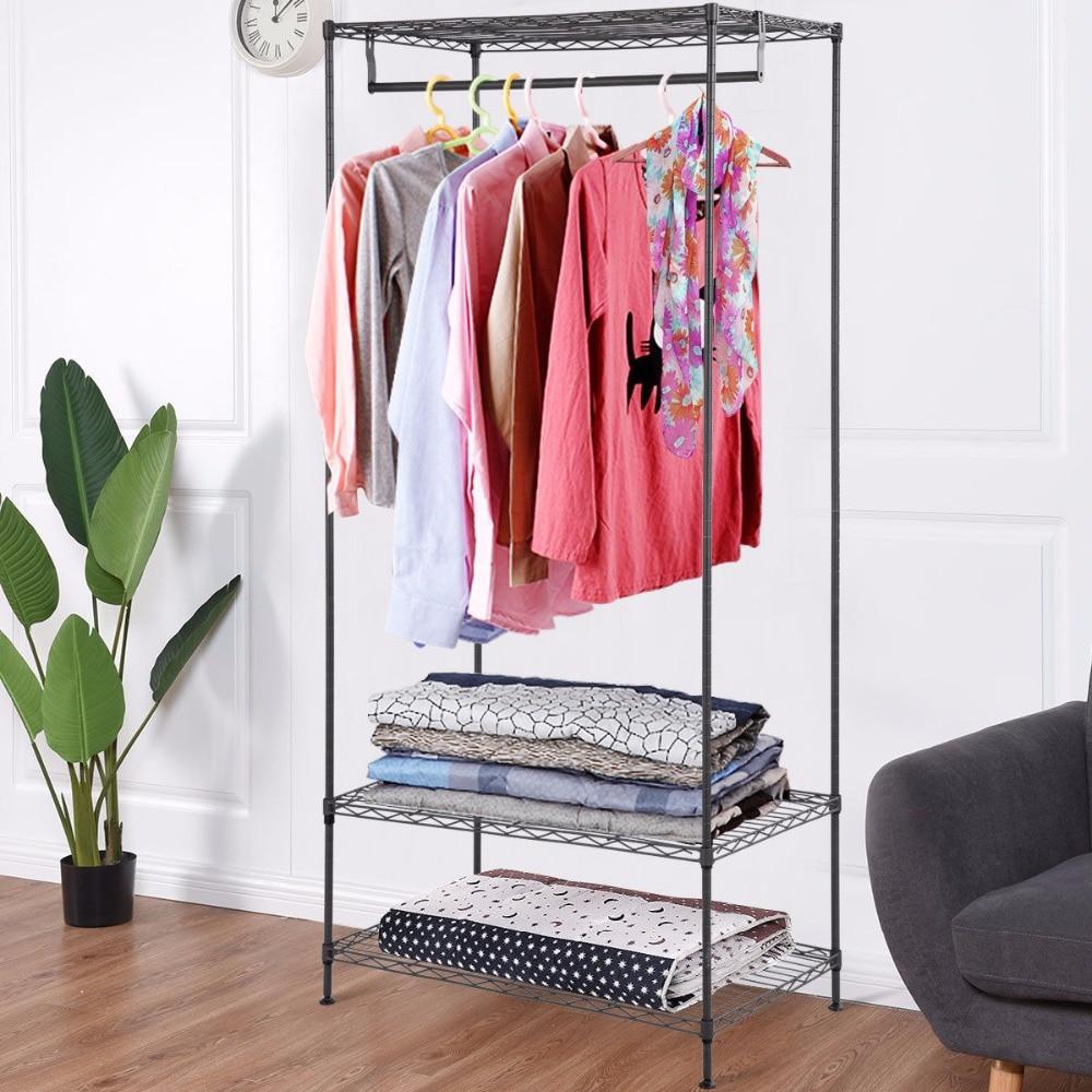 Giantex 3-Tier Clothing Garment Rack Hanger Shelving Wire Shelf Dress Wardrobe Portable Home Furniture HW58923 gantungan baju portable