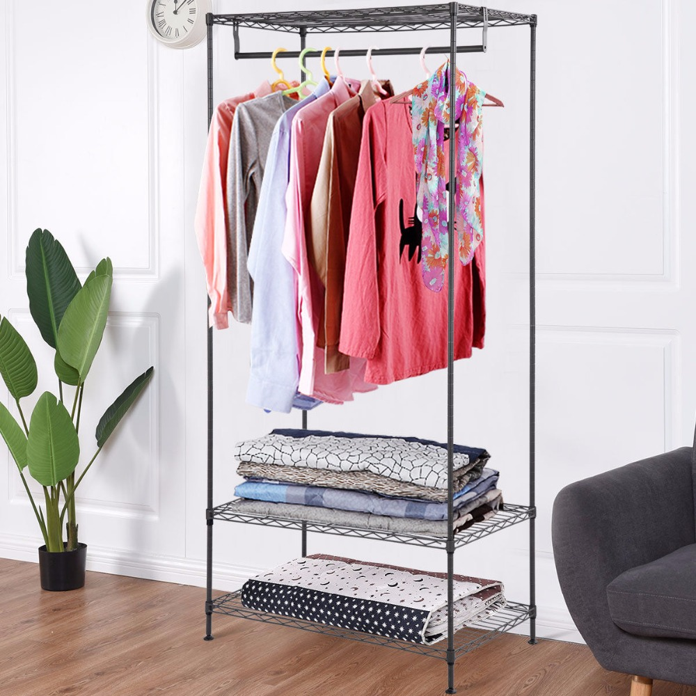 Möbel Schränke GüNstiger Verkauf Giantex 3-tier Kleidung Garment Rack Kleiderbügel Regale Draht Regal Kleid Kleiderschrank Tragbare Home Möbel Hw58923