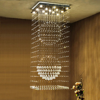 Square Crystal Chandeliers LED Modern K9 Chandelier Lights Fixture Home Indoor Lighting Hotel Hall Lobby Parlor Hanging Lamps