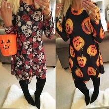 Vestido Fashion Halloween Pumpkin Skull Print Dresses Women Casual Party Dress Plus Size Lady Autumn Long Sleeve Dress