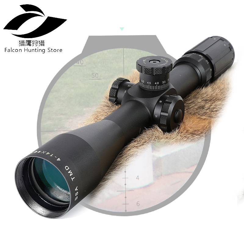 Rifle Scope 4-14X44 FFP Hunting Riflescope First Focal Plane Glass Mil Dot Reticle Tactical Optics Sight Side Parallax joufou 4 16x40aol tactical rifle scope optical sights full size mil dot rgb llluminate wire reticle hunting riflescope for rifle