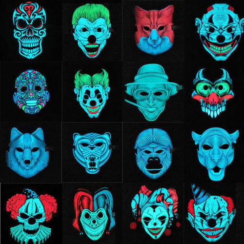 New LED Mask The PURGE Movie EL Wire DJ Party Festival Halloween Glow Mask