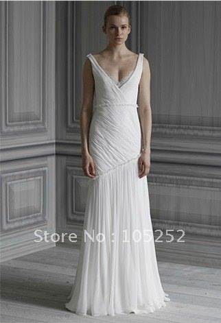 2012 free shipping empire v-neck chiffon bridal dress gown